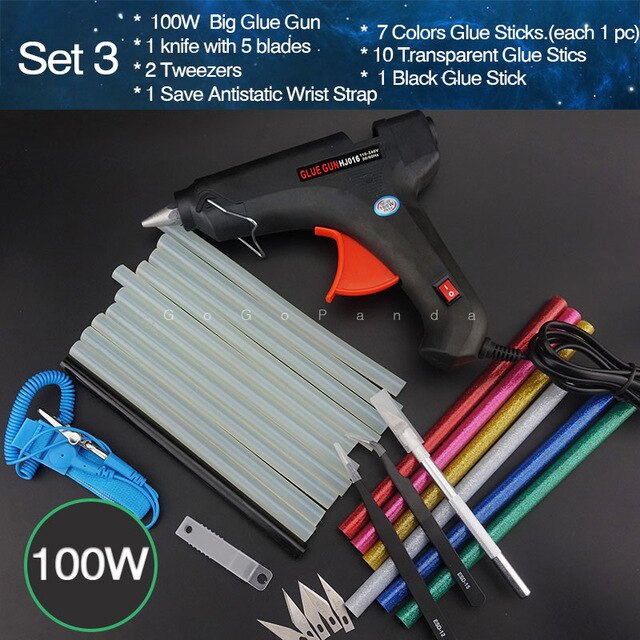 Free Shipping 100W DIY Hot Melt Glue Gun Set Black Sticks Trigger Art Craft Repair Tool with Light GG-5 110V-240V
