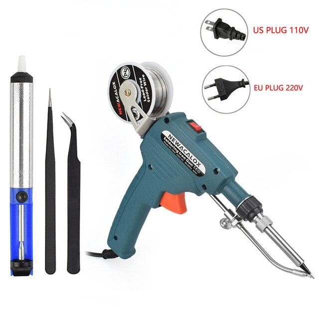 NEWACALOX EU/US 60W Hand-held Soldering Iron Internal Heating Automatically Send Tin Gun with Power Switch Welding Repair Tool