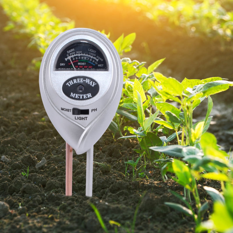 Yieryi 3 in 1 Round Head Soil Moisture Meter PH Water Acidity Humidity Sunlight Garden Plants Flowers Moist Tester