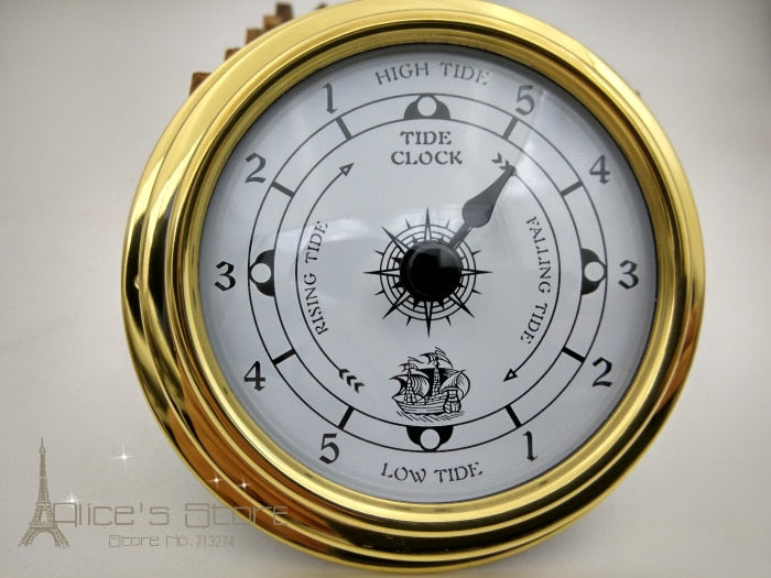 "NEW 1pcs 3""  Brass Case Traditional Weather Station  Analog Tidal instrument  Tide Clock Gold Metal (White Dial)  tc8151"
