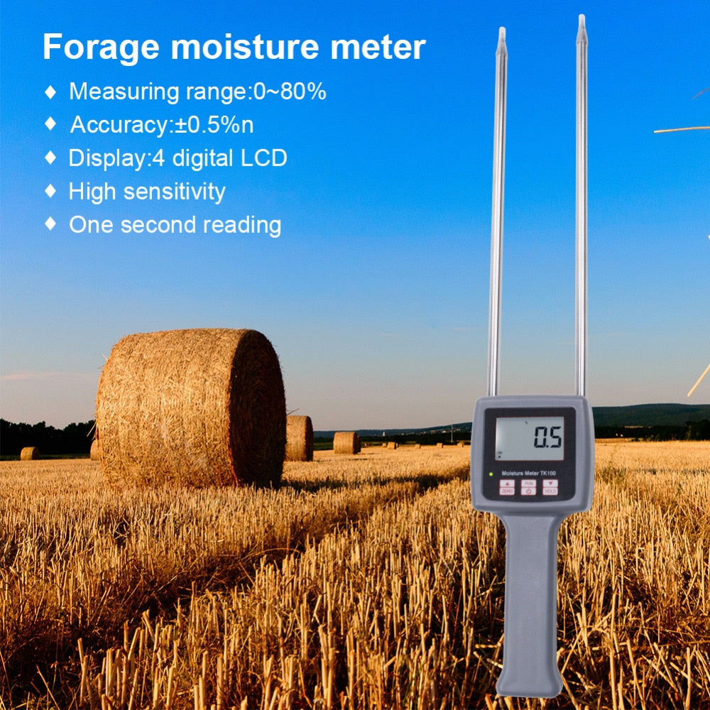 Hot Digital Display TK100 Moisture Analyzer Moisture Meter Humidity Measurement Tool for Pasture Sawdust Rice Straw Coconut Palm