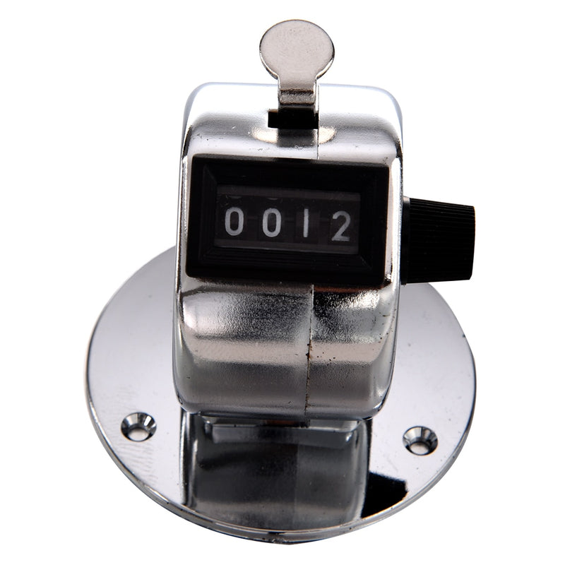 THGS Round Base 4 Digit Manual Hand Tally Mechanical Palm Click Counter