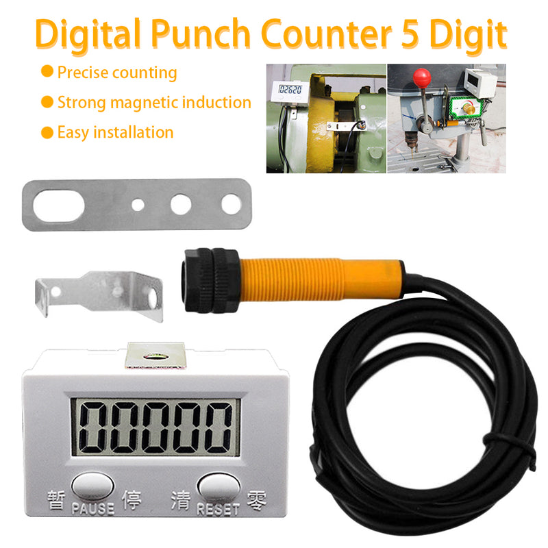 Electronic Counter 5 Digit Electronic Meter proximity Industrial Magnetic Sensor Switch Digital Punch Counter