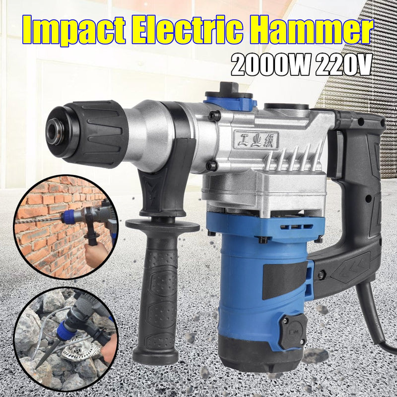 Electric Impact Hammer 2000W 220V Concrete Breaker 360 Degree Rotary Sub-handle Industrial Drilling Power Tools New Arrival 2019
