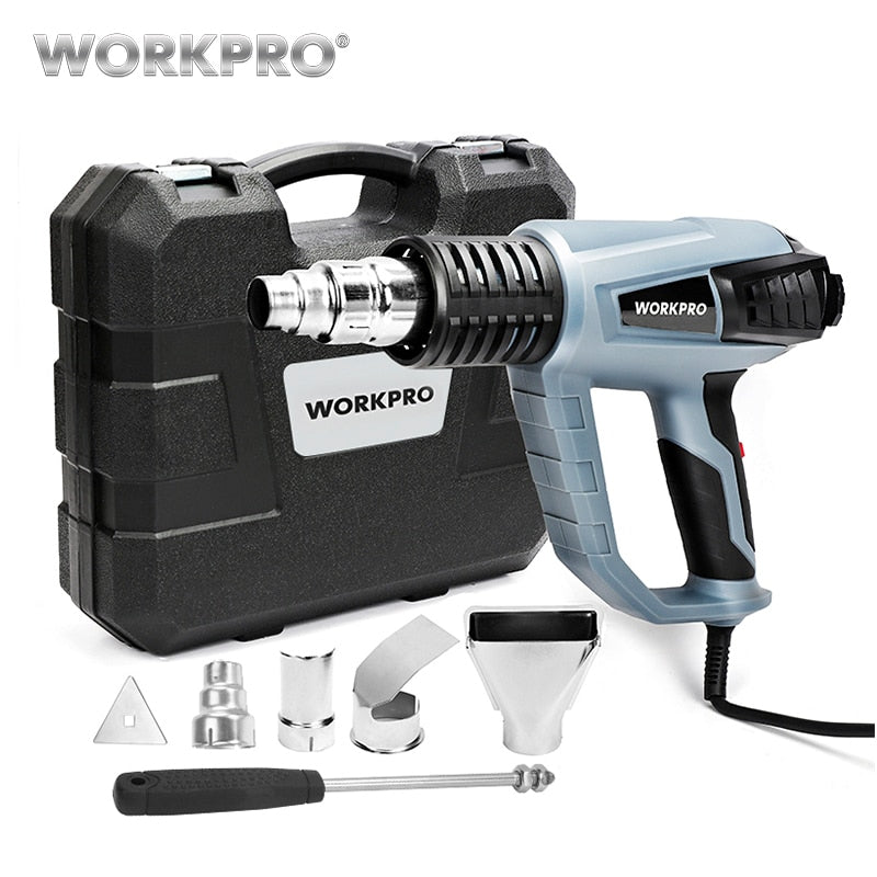 WORKPRO 220V Heat Gun 2000W Industrial Electric Hot Air Gun Thermoregulator Heat Guns Shrink Wrapping Thermal Heater Plastic Box