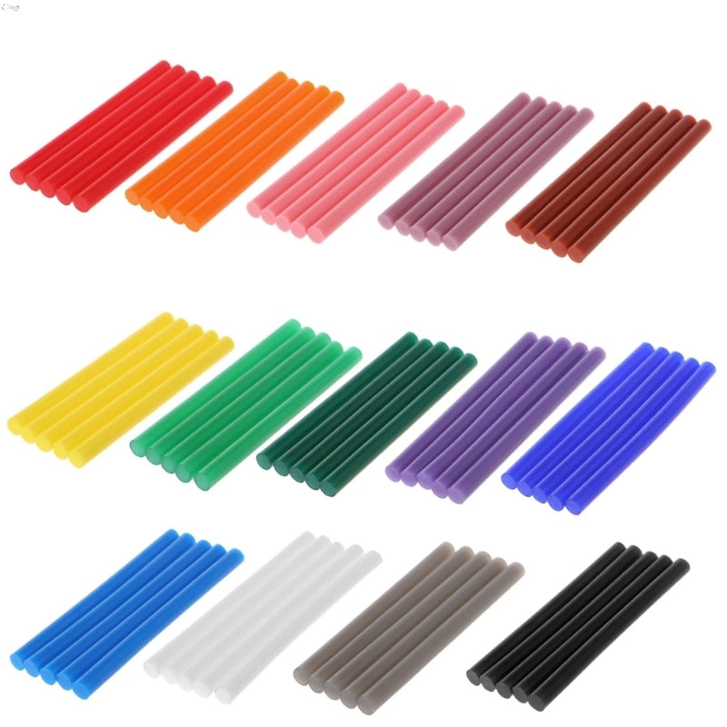 5pcs Hot Melt Glue Stick Colorful 7x100mm Adhesive For DIY Craft Toy Repair Tool L29K