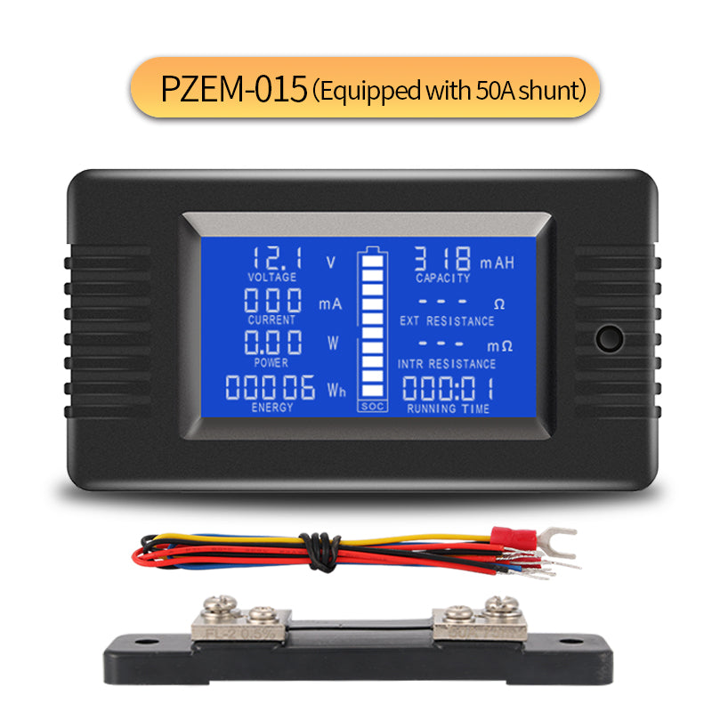 PZEM-015 0-200v 0-300A Car Battery Capacity Tester Power Energy Impedance Resistance Digital Ammeter Voltmeter Energy Meter