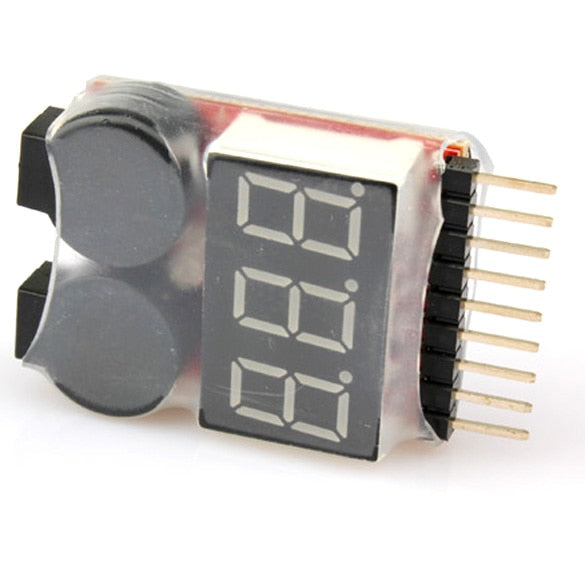 1-8S LED Lipo Voltage Indicator Checker Tester Low Voltage Buzzer Alarm --M25