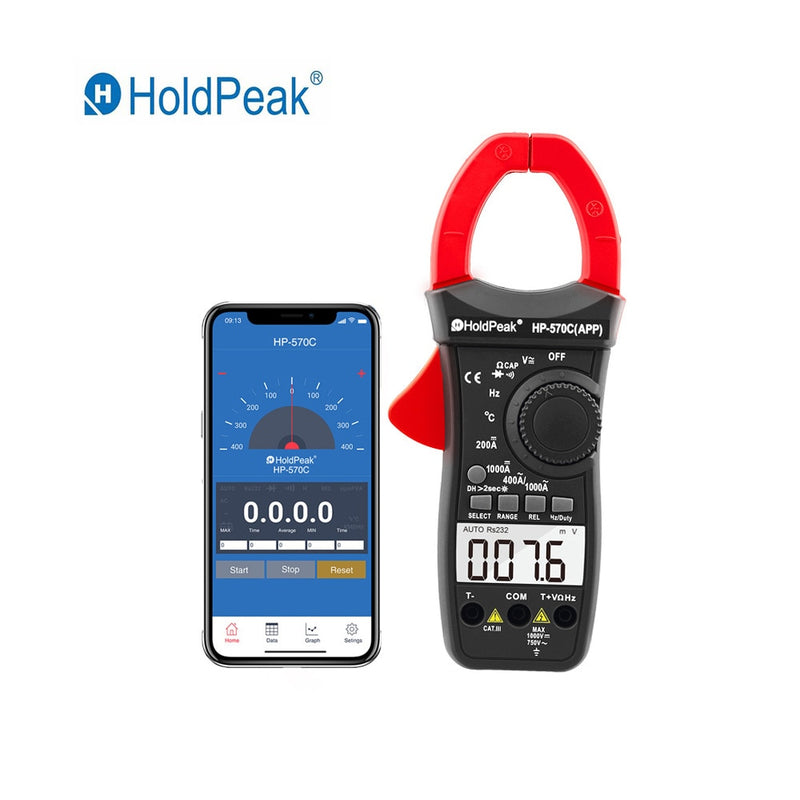HoldPeak Digital Clamp Multimeter HP-570C-APP 1000A AC/DC Current Voltage Capacitance Temperature Meter Connect to Phone Tester