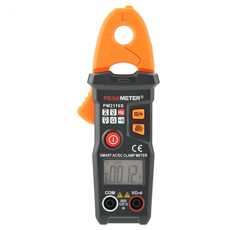 PEAKMETER PM2116S Clamp Multimeter Mini Non-contact DC/AC 10mA-100A Digital Current Meter Multimeter Measuring Tool 600V