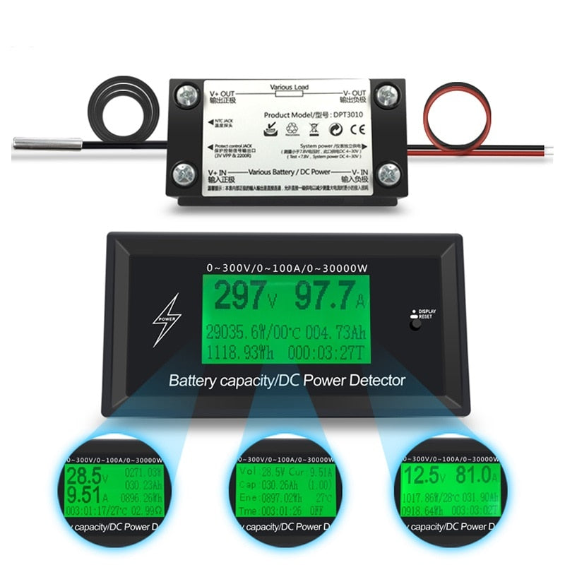 100A 300V DC Energy Meter Energy Monitoring 8 in 1 Measurement Voltage+Current+Power+Battery+Impedance+Temperature+Time+ Energy