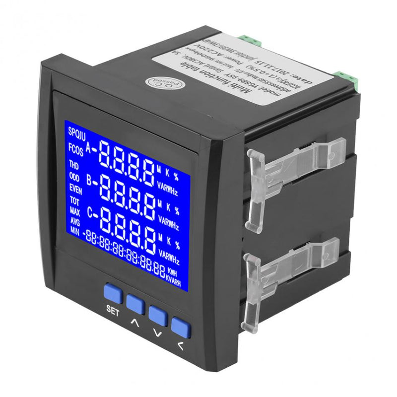 AC 380V 5A  Digital Multifunction Voltage Meter 3-Phase Electric Current Voltage Frequency Power Energy Meter RS485