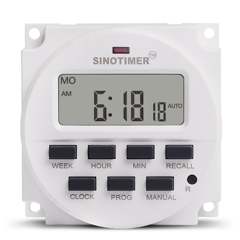 SINOTIMER AC 12V Weekly 7 Days Programmable Digital Time Switch Power Energy Meters Relay Timer Control Din Rail Mount
