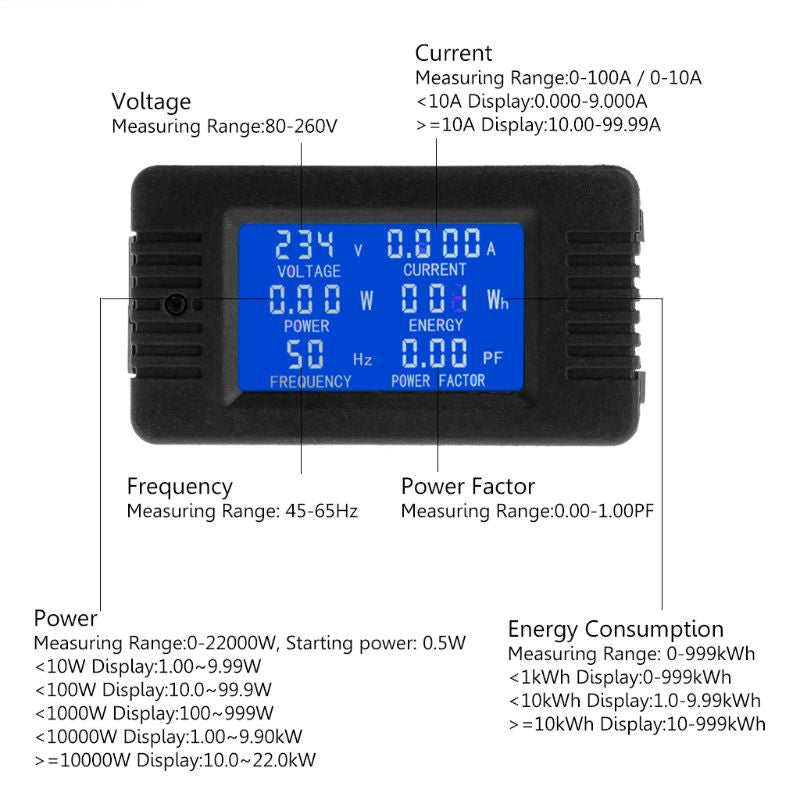 Free postage Digital Voltage Energy Meter Frequency Power Current Power factor Panel Watt Combo Indicator 80~260V 110V 220V