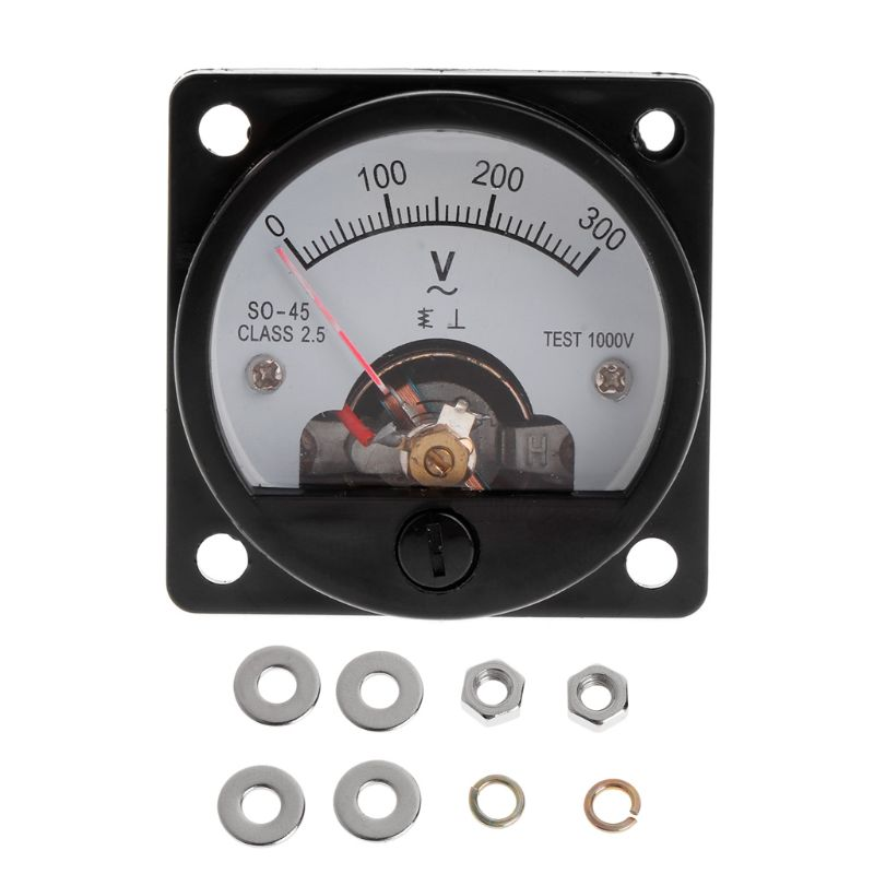 Voltmeter SO-45 AC 0-300V Round Analog Dial Panel Meter Voltmeter Gauge Black