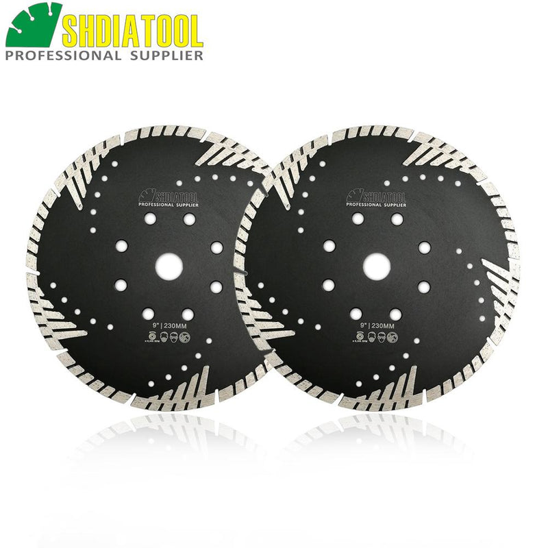 "SHDIATOOL 2pcs 9""/230mm Diamond Blades Cutting Disc Hot Pressed Turbo Blade With Slant Protection Teeth Stone Concrete Wheel"
