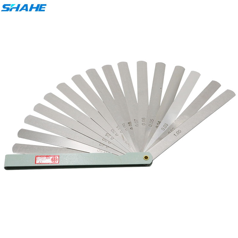 SHAHE 150 mm length 17 Blades Feeler Gauge Metric Feeler Gauge 0.02-1.00 mm Measurement Instruments