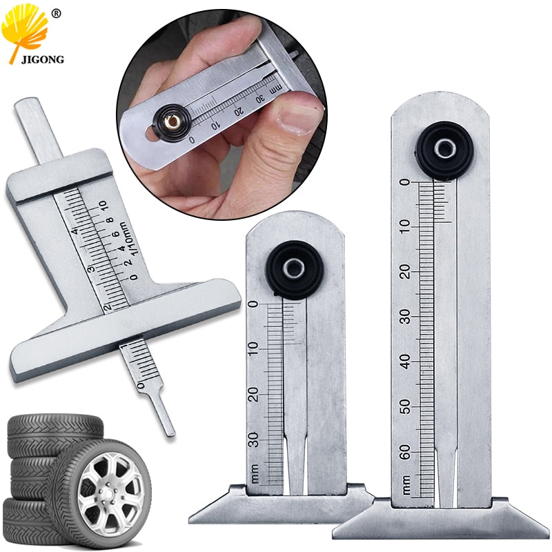 Stainless Steel Car Tyre Tire Tread Depth Gauge Meter Ruler Caliper Measuring Tool Moto Truck