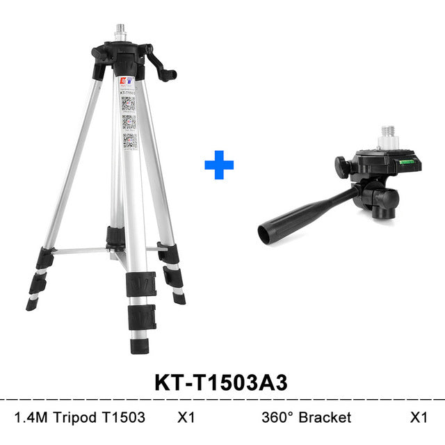 KaiTian Tripod for Laser Level 360 12 Lines 5 Lines Collapsible Aluminum 141cm Leveling Bubble 360 Rotary Bracket Building Tools