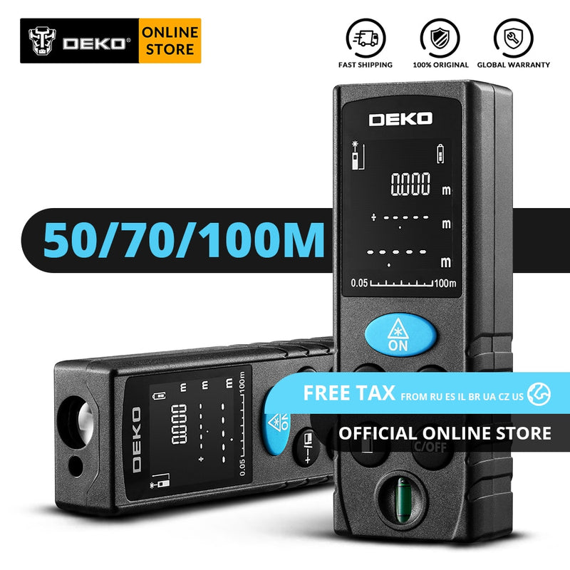 Original DEKO LRD110 Laser Distance Meter 50M 70M 100M Digital Dual Measure Laser Rangefinder Distance/Area/ Volume/Pythagorean