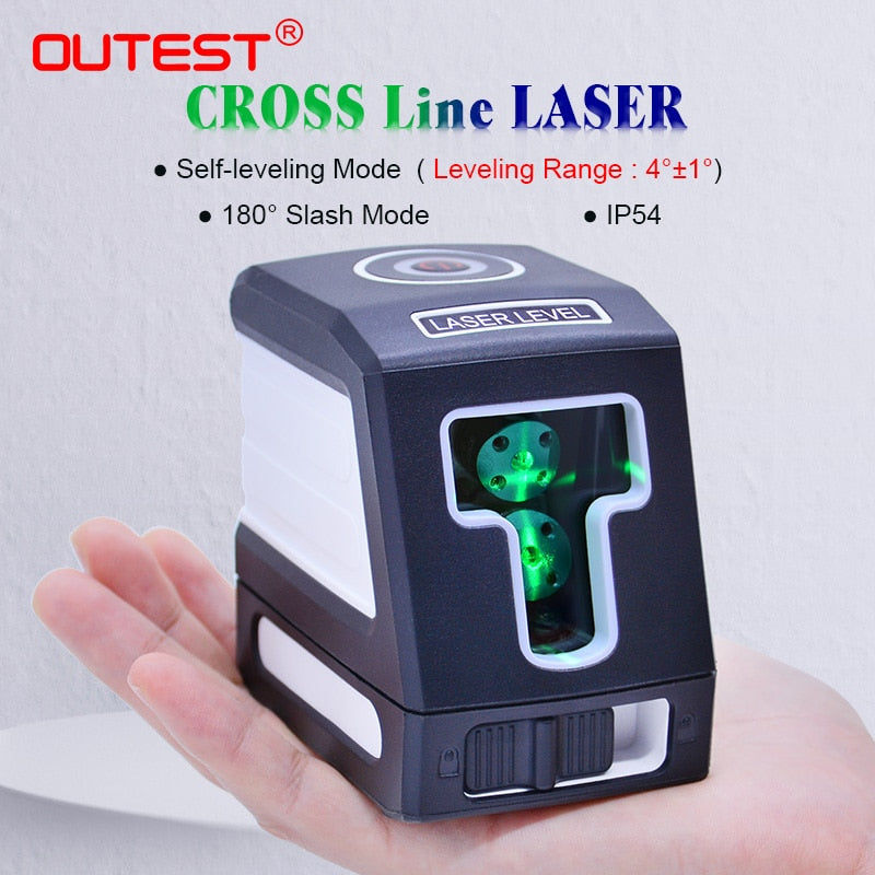 OUTEST Red/Green Light Level Marker Line Projector 2 Cross Line IP54 Lazer Nivel Diagnostic Tools Leveling construction tools