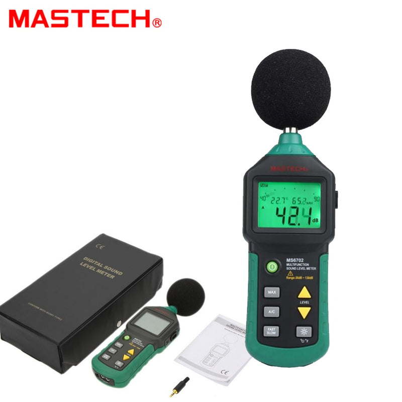 MASTECH MS6702 Digital Sound Level Meter Noise Meter 30dB~130dB DB Decible Meter Tester Temperature Humidity Meter Thermometer
