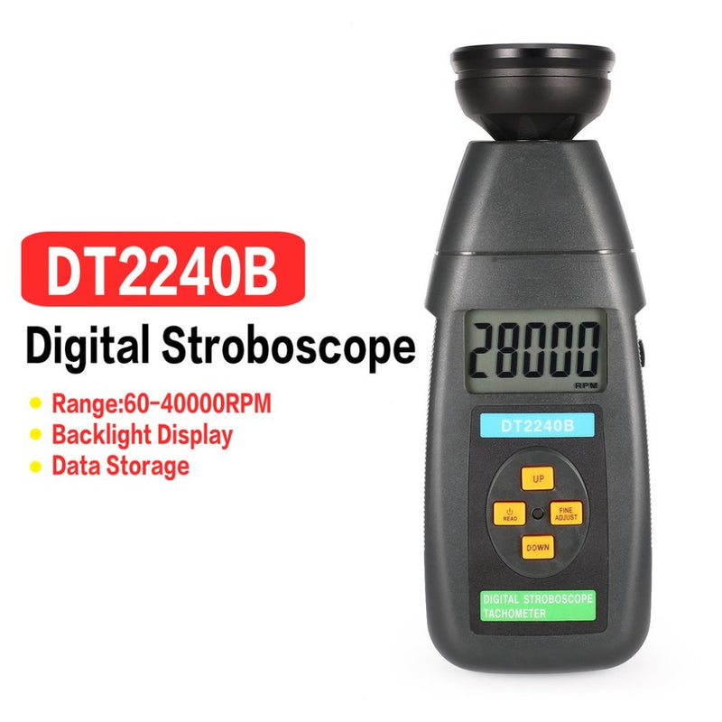 DT2239B Digital LCD Non-Contact Flash Stroboscope Tachometer Photoelectric Revolution Meter Speedometer Tester 60~19999RPM