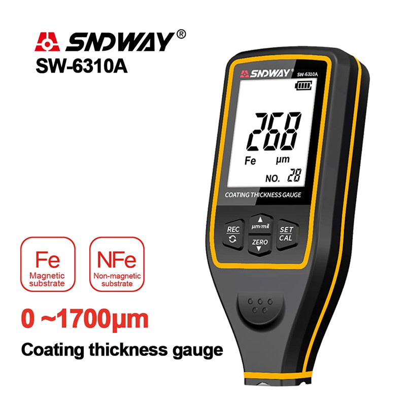 SNDWAY Width Measuring Instrument Paint Coating Thickness Gauge Digital Car Film Thickness Gauge Tester Thickness Gauges