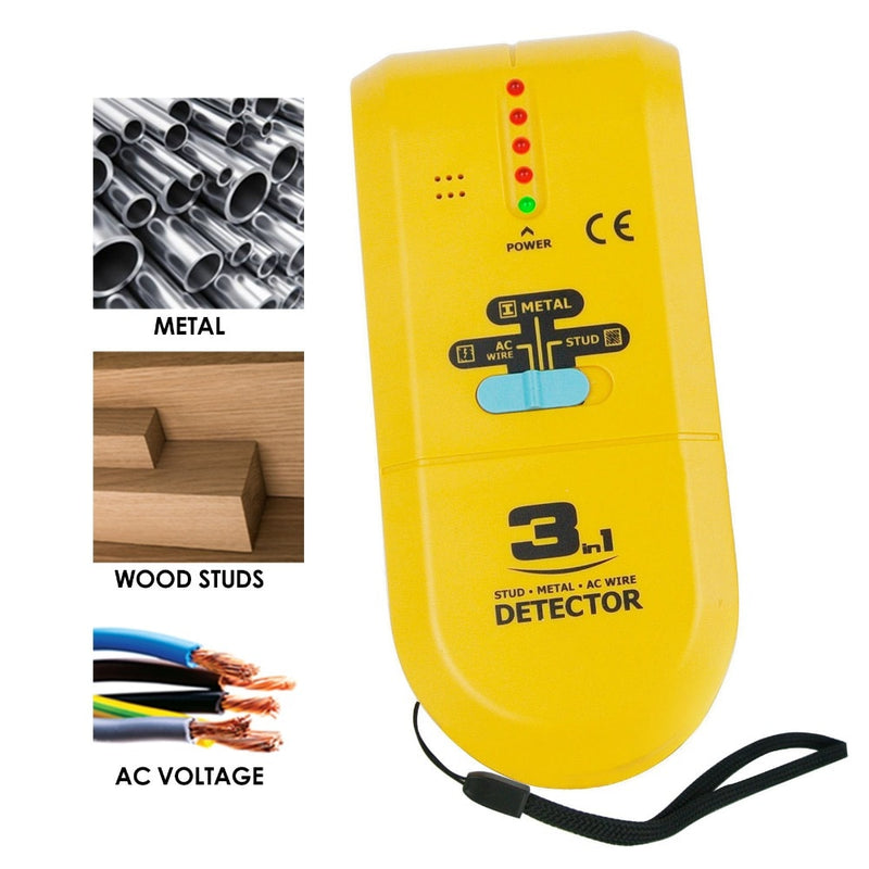 3 in 1 Stud / Metal / AC Wire Detector, Handheld Wall Wood Metallic Pipe Voltage Live Scanner Finder Tracker w/ Spotlight