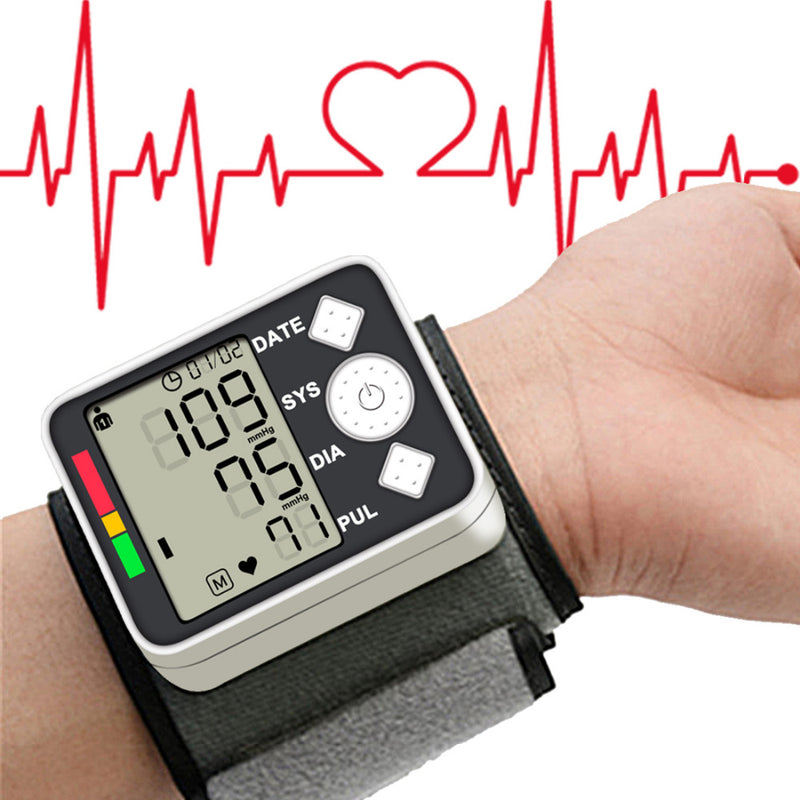 Measurement Blood Pressure Meter Digital Monitor Wrist Automatic Phys Magnetometer for Home School Health Care