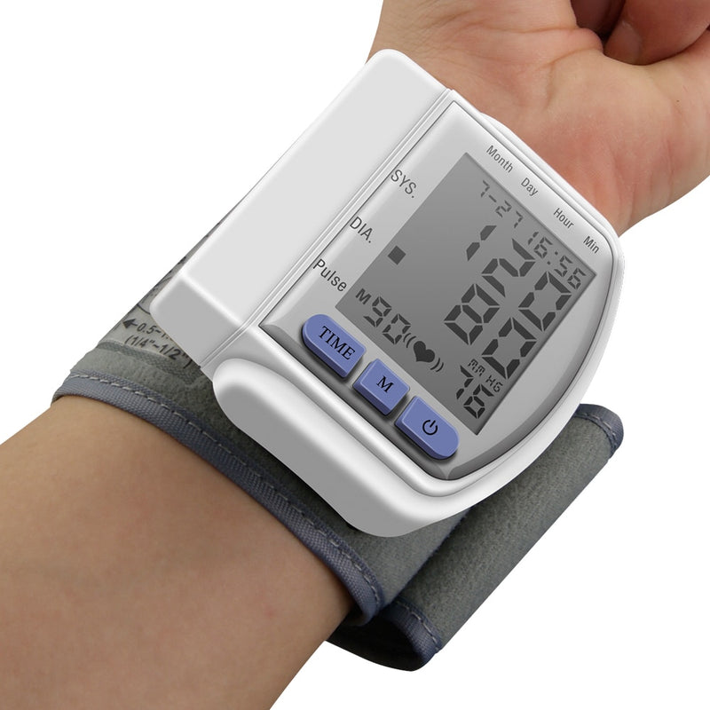 LCD Digital Display Automatic Home Wrist Blood Pressure Screen Pulse Sphygmomanometer and Tonometer Monitor Heart Beat Meter