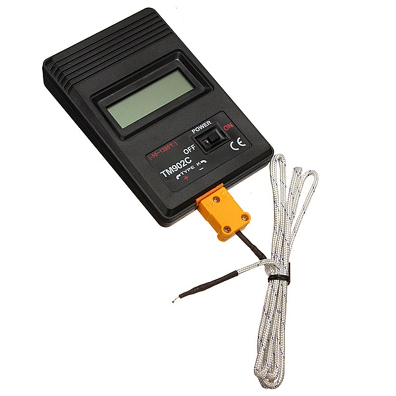 TM-902C Black K Type Digital LCD Temperature Detector Thermometer Industrial Thermodetector Meter + Thermocouple Probe