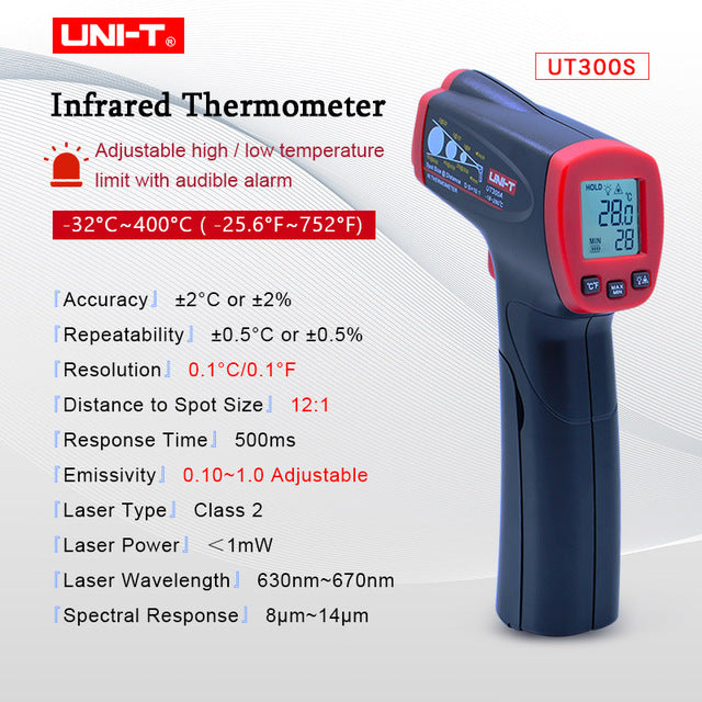UNI-T UT300A/300C/300S Non Contact Laser Infrared Digital Ir Thermometer Gun LCD display Temperature Measuring Degree Tester