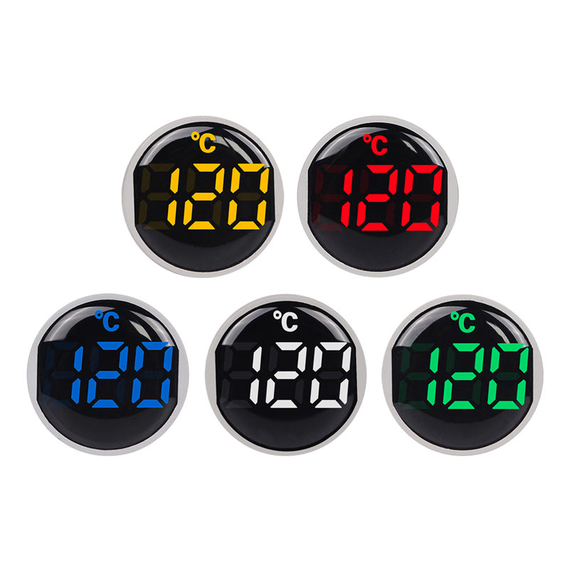 22mm Round Small Mini LED Light Display Thermometer Digital Temperature Meter Indicator AC 50-380V 220V -20-120'C with 1m Sensor