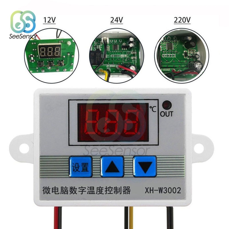 W3002 12V 24V 220V LED Digital Temperature Controller Thermostat Control Switch Thermoregulator Sensor Meter With Probe XH-W3002
