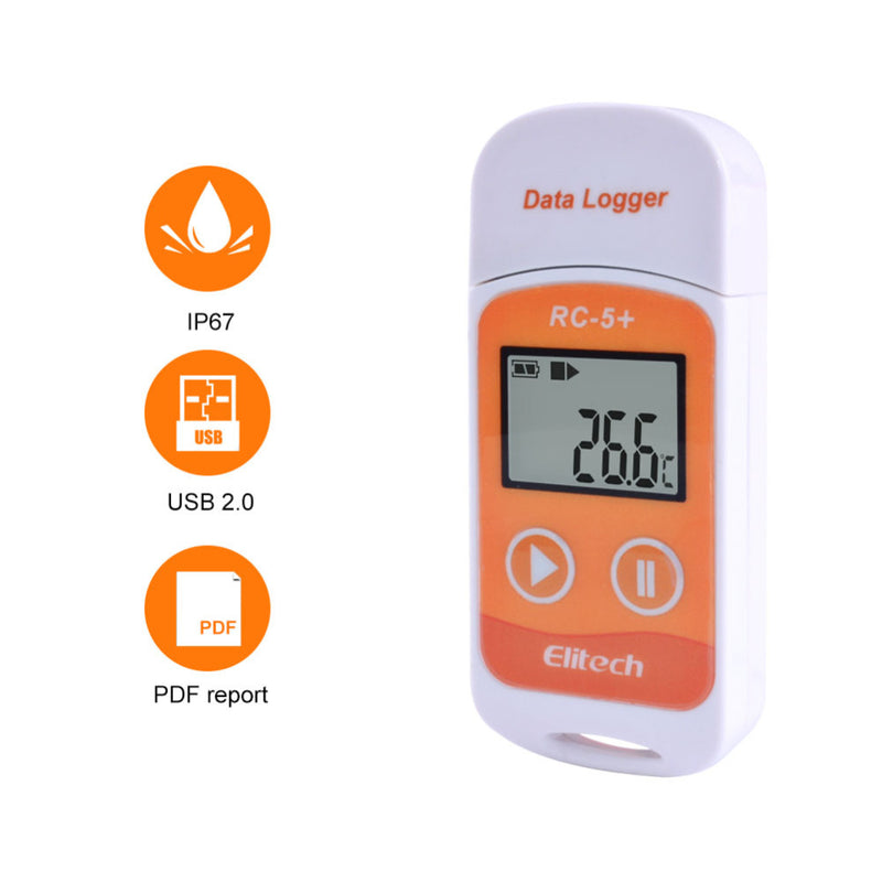 RC-5+ High-precision Digital USB Temperature Data Logger Upgrade for Refrigeration, Cold Chain Transport, Labs, Etc