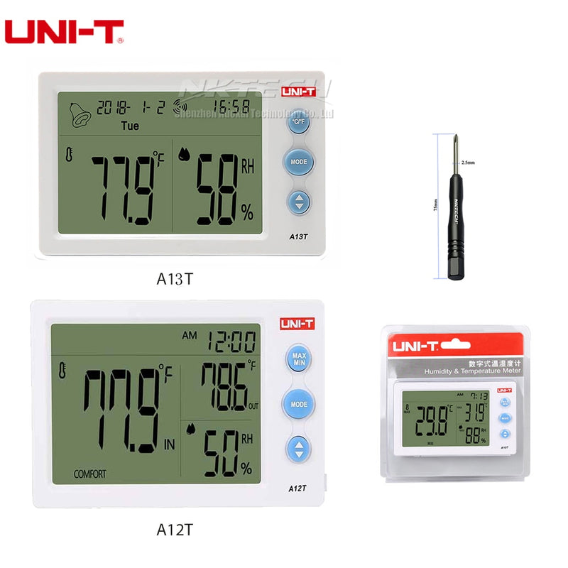 UNI-T A12T A13T Digital LCD Thermometer Hygrometer Dual Temperature Humidity Meter Alarm Clock Weather Station Indoor Outdoor