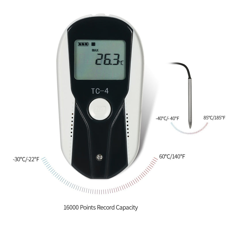 USB Temperature Record Meter TEMP Data Logger Recorder  LCD Thermometer Recording Meter with External Temperature Sensor