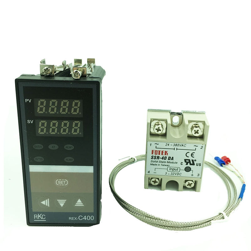Digital RKC PID Temperature Controller  Thermostat REX-C400 (SSR Output)+K type thermocouple+Max 40A SSR relay  free shipping