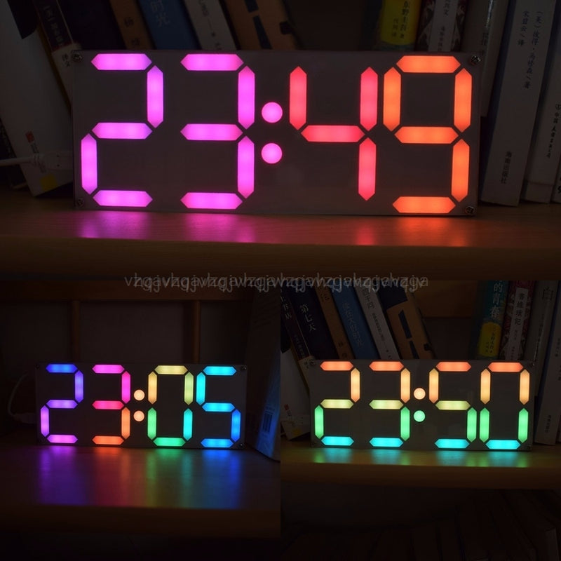Large Inch Rainbow Color Digital Tube DS3231 Clock DIY kit with customizable colors Electronic kit