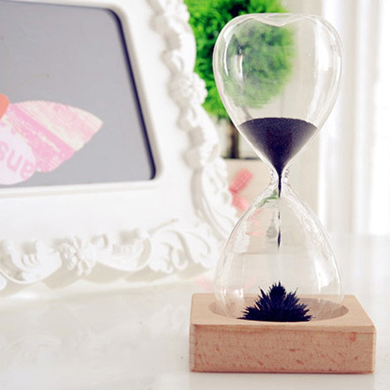 Magnetic Iron Hourglass Sand Timer Clock Glass Creative Gift Table Decor