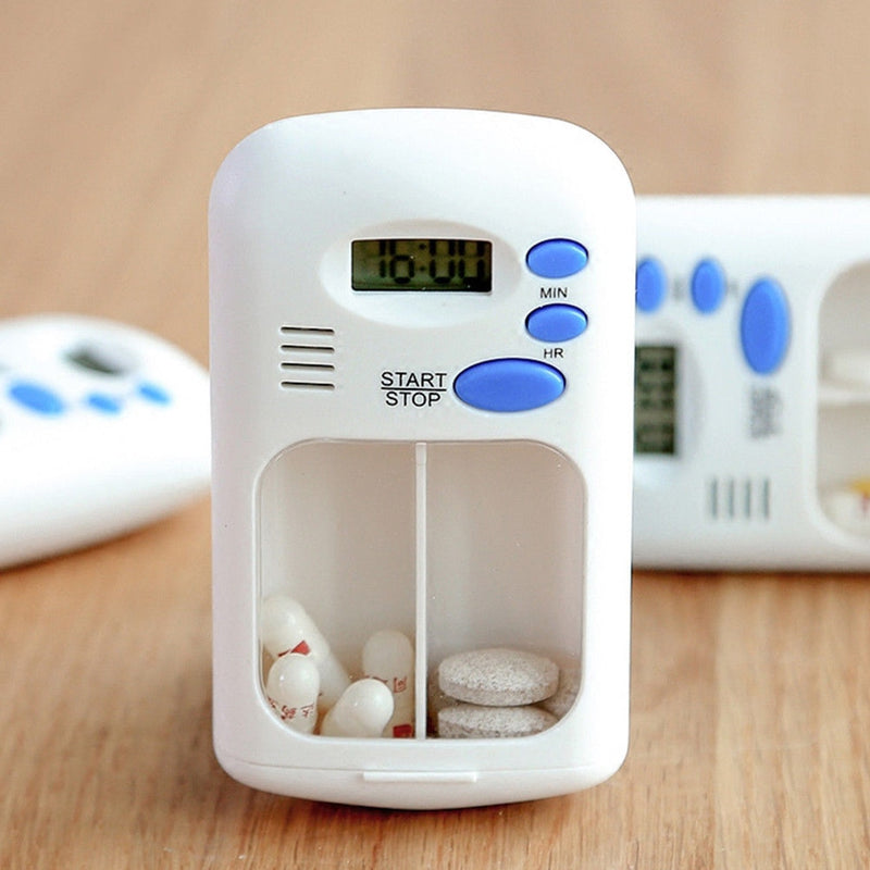 2 Grids Digital Portable Electric Alarm Home Use LCD Pill Box Loud Beep Medicine Reminder White Splitters Travel Small Timer