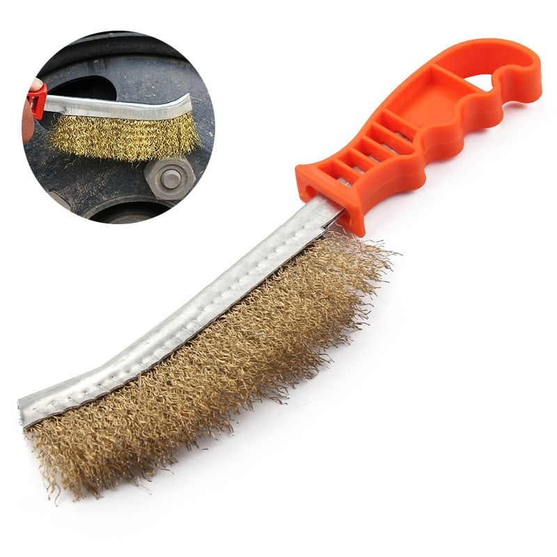 Wire Bristle Brush Cleaner Hand Tool Copper Plated Wire Brush Paint Rust Remover for Cleaning Brake Pads Calliper Disks
