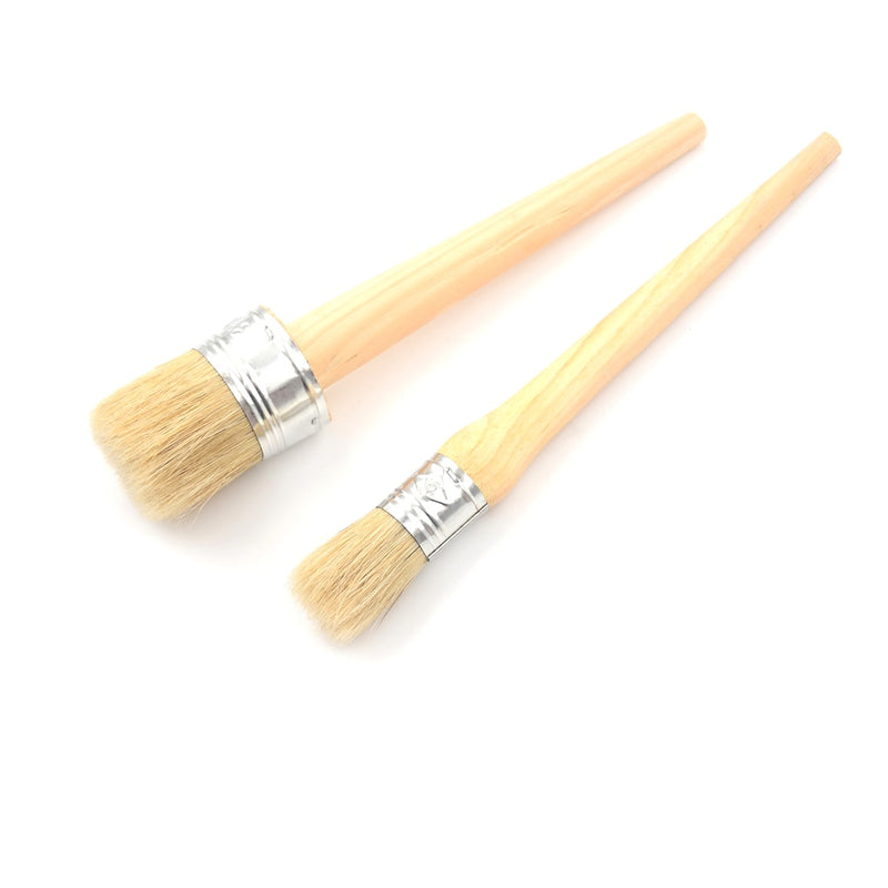 1 PC 185mm Long Round Bristle Chalk 25mm Wooden Handle Round Bristle Chalk Oil Paint Painting Wax Brushes