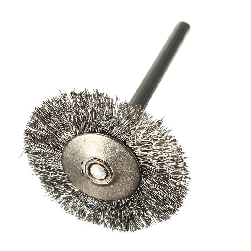 10 pcs Stainless Steel Wire Brushes Disc Brush Round Brush 25mm Diameter for Dremel