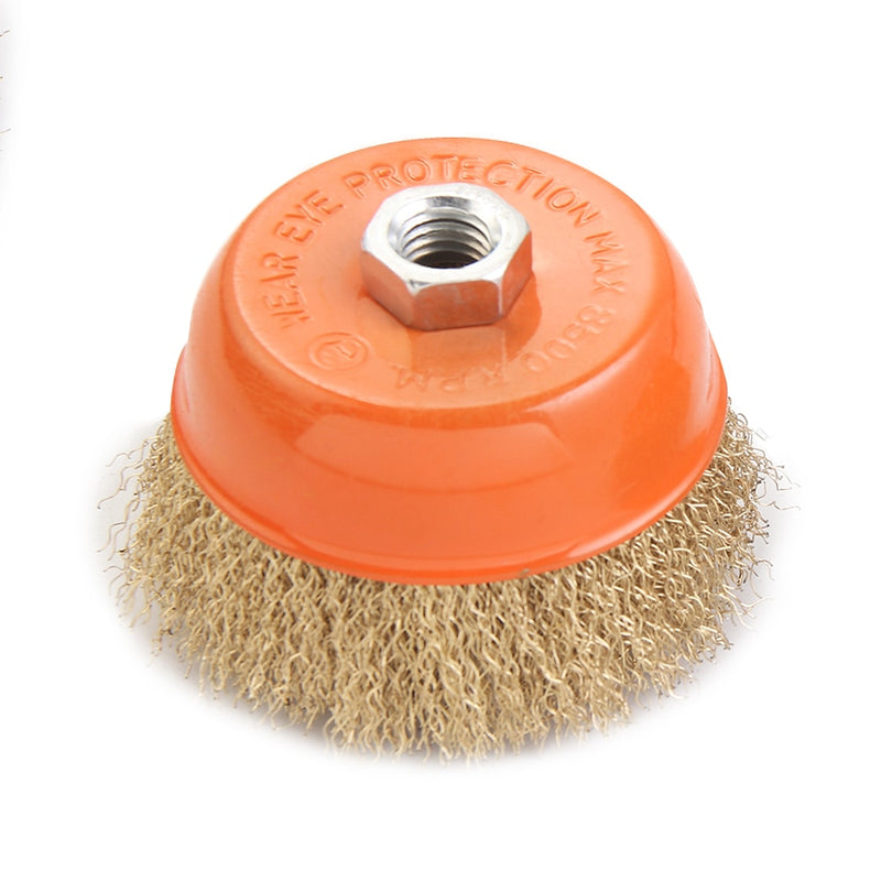 KSEIBI 100mm Abrasive Wire Cup Brush with M14 Nut for Angle Grinders Crimped Tempered  Coated Steel Bristles - 4""