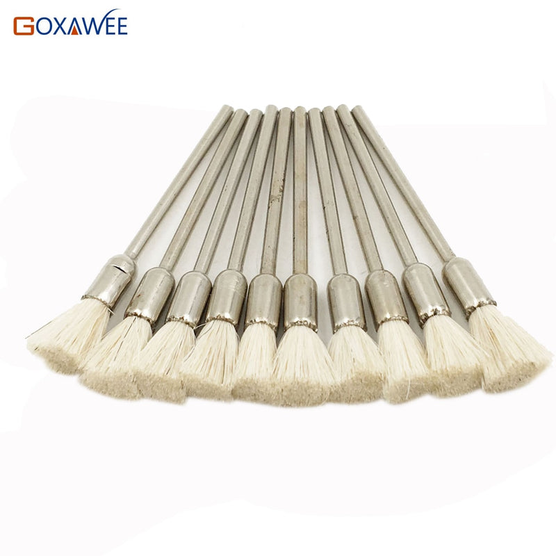 GOXAWEE 100pcs For Dremel  Rotary Abrasive Tools  White Goat Hair Shank 2.35mm Power Tool Accessories For Dremel Tools