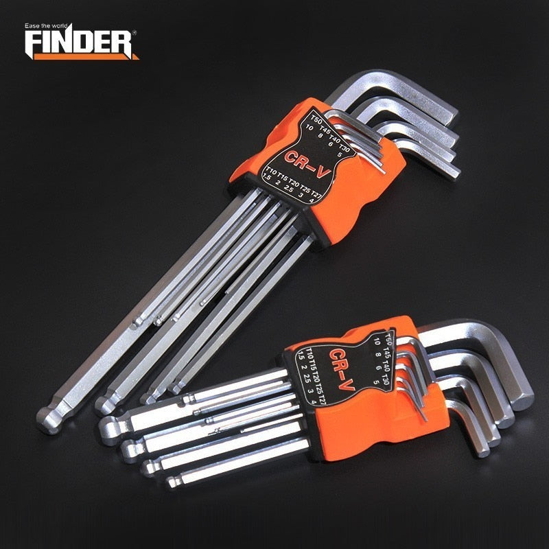 FINDER 9PCS Double-End L Type Screwdriver Hex Wrench Set Allen Key Hexagon Flat Ball Torx Star Head Spanner Key Set Hand Tools