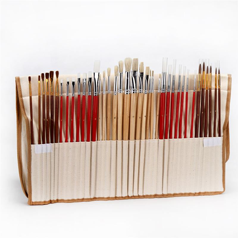 38 Paint Brush Set with Canvas Holder Synthetic Hair Art Brushes for Watercolor Oil Acrylic Painting