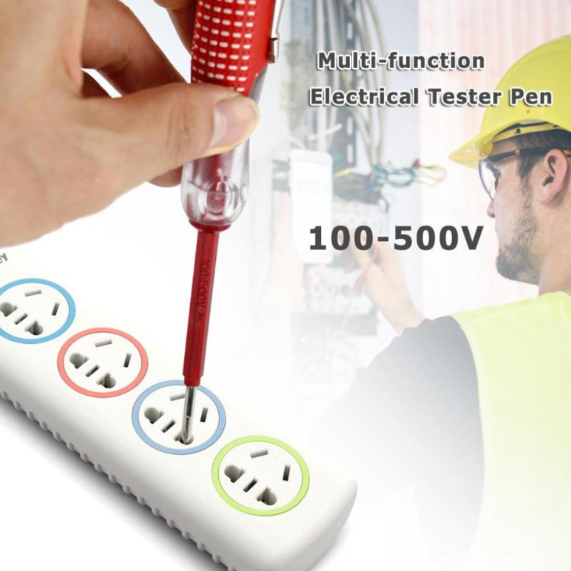 Multi Function Screwdriver Test Pencil Electric Test Tester Sturdy Red Durable Insulation Electrician Home Test Pen 100-500V
